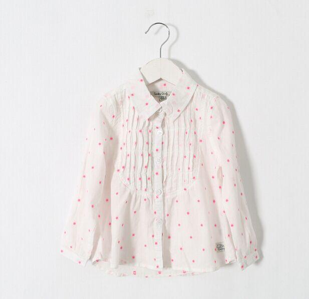2015 New Children White & Pink Dot Long Sleeve Blouse Girls Cotton Shirts Spring & Autumn Brand Kids Brief Tops 2-7Years(China (Mainland))