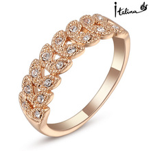 Real Italina suena para para genuino cristal de Austria 18 K chapado en oro rosa anillos Vintage nueva venta caliente #RG95683R ose(China (Mainland))