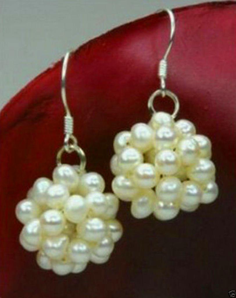 New Handmade 18mm White Freshwater Pearl Ball 925 Silver Hook Earrings(China (Mainland))