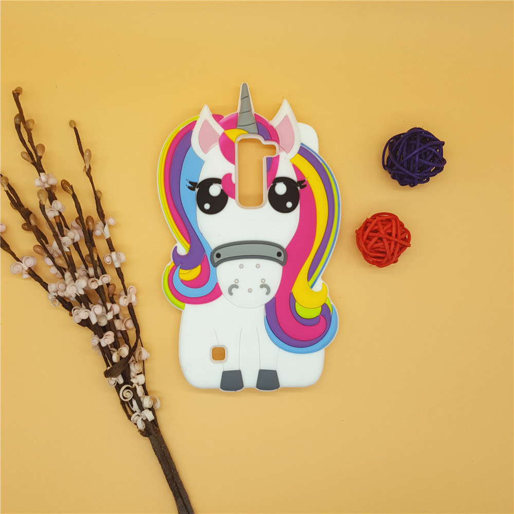 3D Cartoon Rainbow Unicorn Case Silicon White Horse Cover LG K7 Q7 LTE X210 MS330 LS675 M1 Tribute 5 Rubber Shell  -  Here Have A Store store