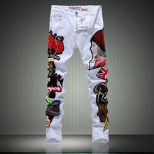 High Qaulity Ripped Jeans 2016 New Designer Patchwork Biker White Jeans Denim Mens Pants Brand Elastic Jeans Slim Fit Plus Size