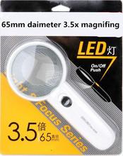 Envío gratis! 2014 más nuevo 75 mm diámetro con luz LED 3.5X de mano de lectura lupa de joyería lupa