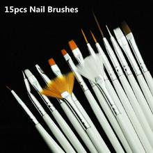 Nail art Pinsel Set, 15 stücke Weiß Dekorationen Gel Malerei Stift Nagelbürste, professionelle Nagel Ausrüstung Zeichnung Werkzeug(China (Mainland))