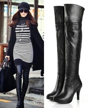 Women's Genuine Leather Platform Over Knee Thigh High Heel Boots Plus Size US 5-9.5(SH033)