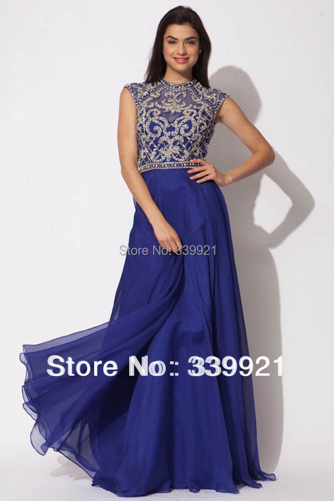 Modest High Neck Cap Sleeves Beaded Chiffon Long Prom Evening Dresses Formal Gowns Open Back 2014 - Golden jubilee wedding dresses store