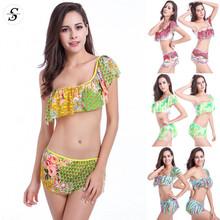 2015 Beautiful Women Ruffled Printed Swimsuit 4 Colors Sexy Comfortable breathable mesh bikini Swimwear D3225(China (Mainland))