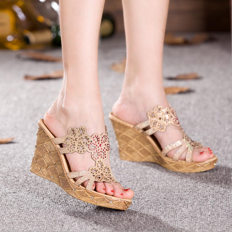 wedges sandals genuine leather slippers flip