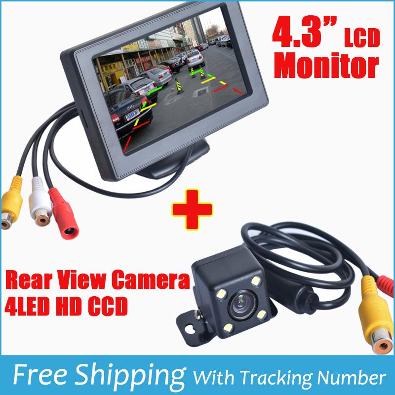 "Parking Rear view Camera 4.3"" TFT LCD Parking Monitor + 4 LED 170 wide angle Rear View Camera Car Rear view Reverse Parking Cam(China (Mainland))"
