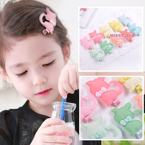 Child Hair Accessory Ice Cream Fabric Bow Tie Cartoon Cat Girls Hair Clips Side-knotted Clip Bangs Clip New Style(China (Mainland))