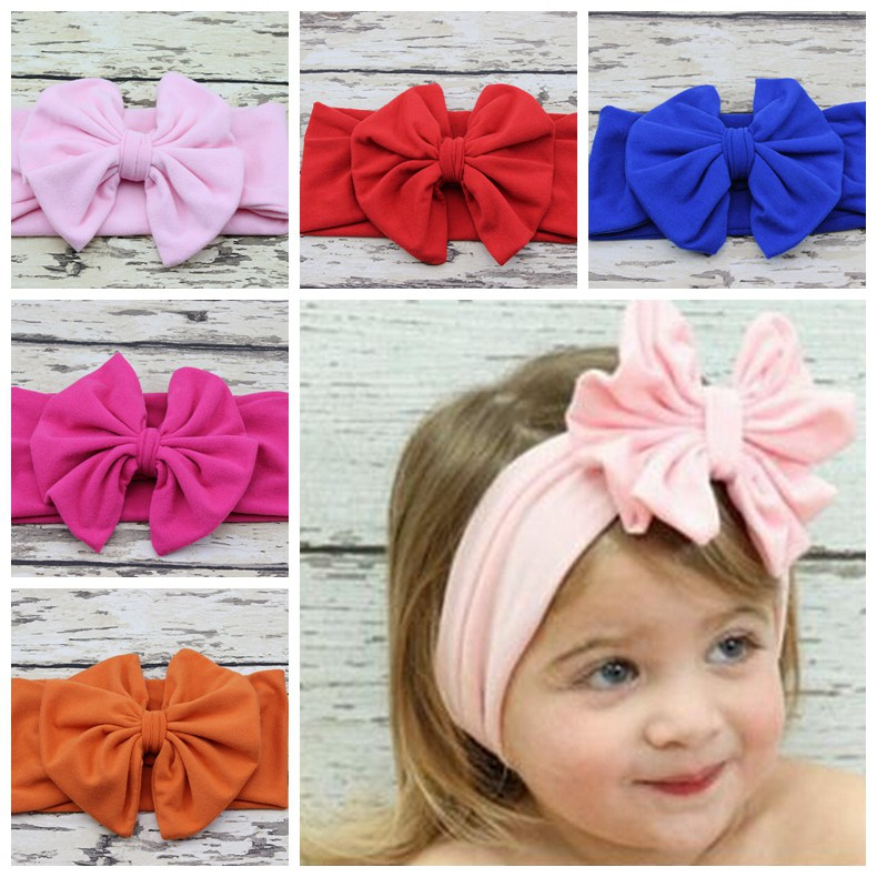 baby Head wrap Blended cotton fabric Headwrap girl Big Bow Bunny Ears head band stretchy Turban Twist flower Hairband FD6542(China (Mainland))