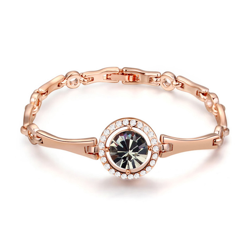 100% Crystals from Swarovski Rose Gold Plated Bracelet Bangles Made With Swarovski Elements Pulseras Women Best Christmas Gifts(China (Mainland))