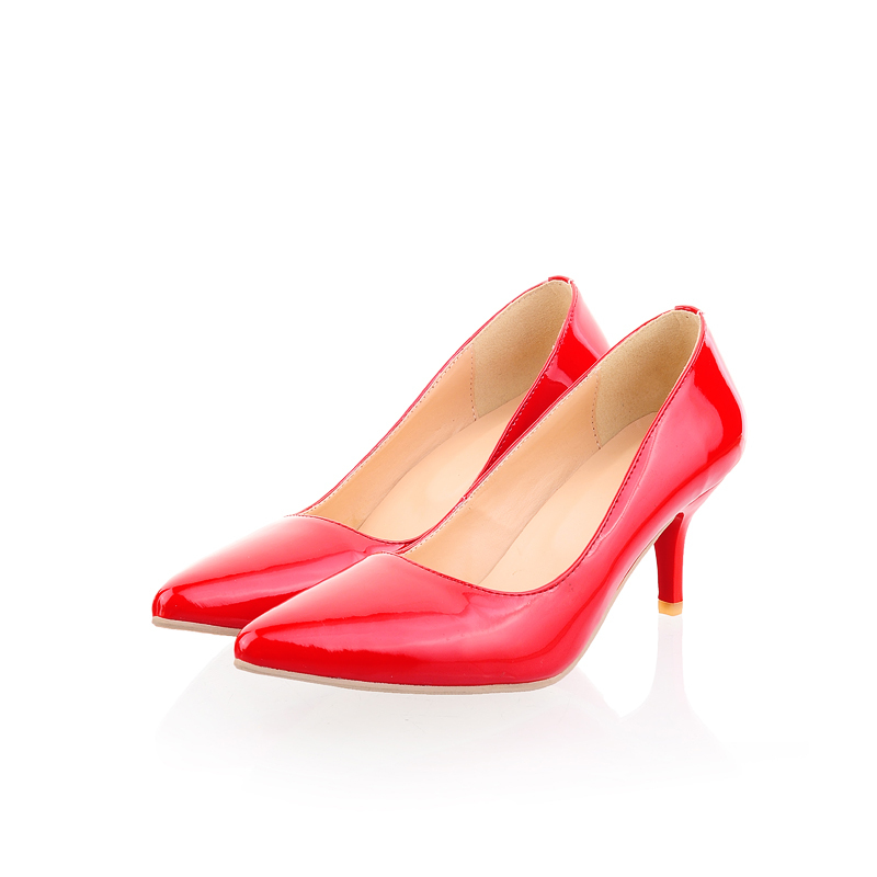 2014 New Brand Hot Sales Classic Black Red Med Spool Heels Glossy Women Nude Pumps Ladies Shoes A8806