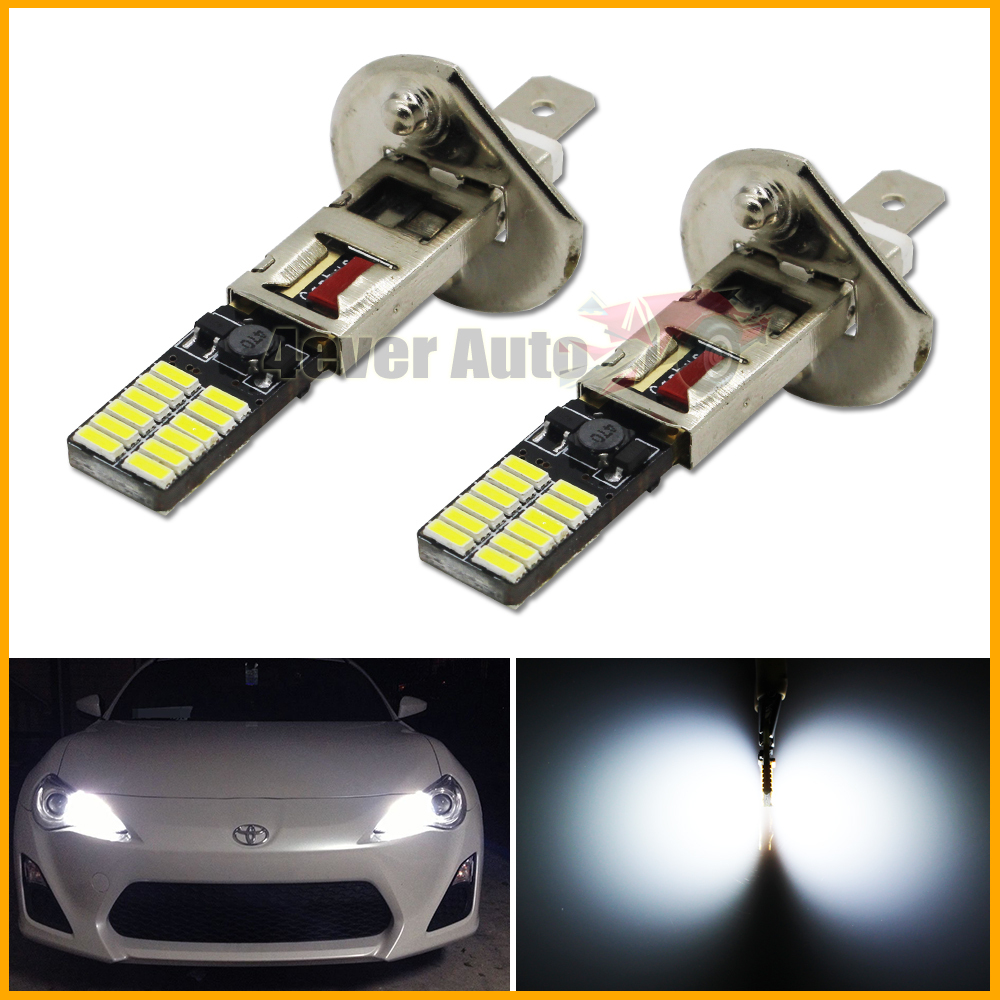 2pcs New Style 6500K HID Xenon White 24-SMD-4014 H1 LED Replacement Bulbs For Car Fog Lights, Daytime Running Lights, DRL Lamps(China (Mainland))