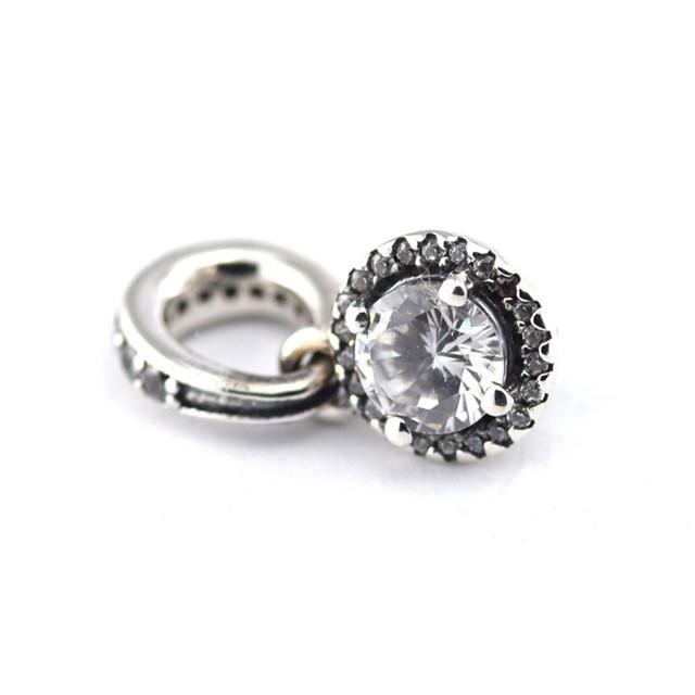 925 - серебристо-ювелирные CZ камни классическая элегантность бусины Fit пандора неповторимое очарование браслеты серебро 925 ювелирных изделий DIY поиск
