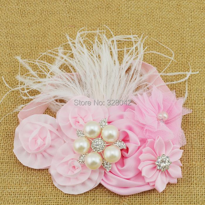 MOQ 1pcs satin rosettes flower Headband pink tulle Flower feather Headband Infant Baby Girls Children hair accessories(China (Mainland))