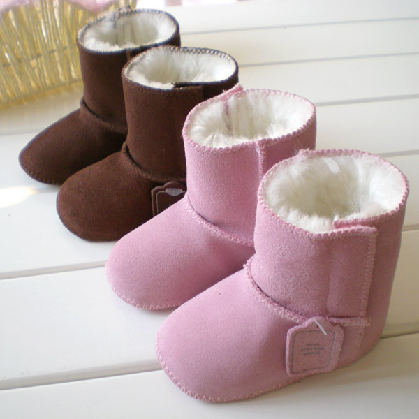 Hot selling! Baby boots Natural fur and leater Baby Snow Boots l Infant Shoes Pink brown Keep Warm kids Shoes First Walkers(China (Mainland))