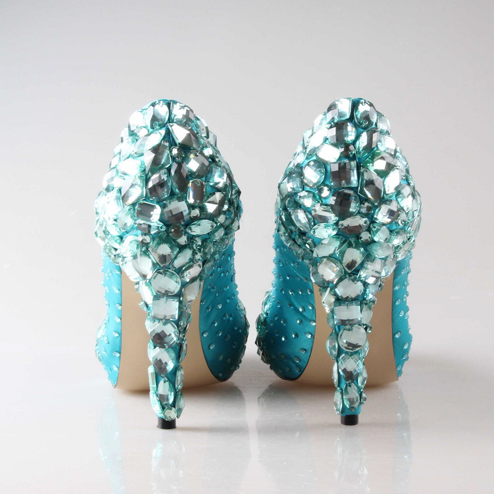 Blue Green High Heels