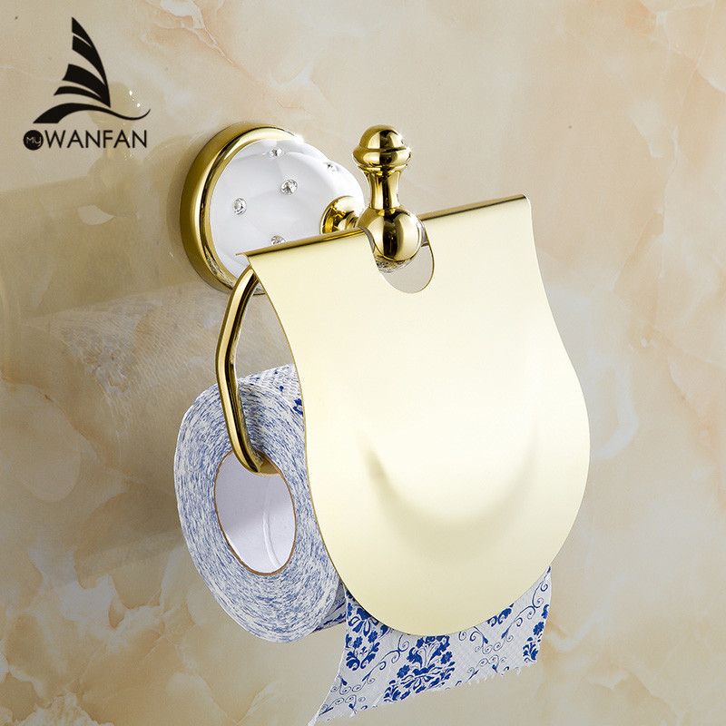 Free Shipping Gold Toilet Paper Holder with diamond,Roll Holder,Tissue Holder,Solid Brass -Bathroom Accessories Products 5208(China (Mainland))