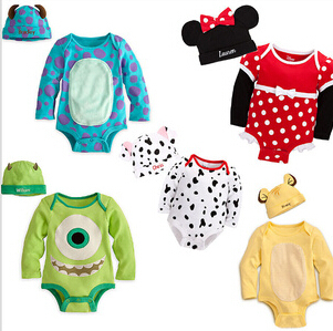 2014 new cuddly character baby boy girl long sleeve bodysuit +hat carters original brand 2 pcs suit clothes(China (Mainland))
