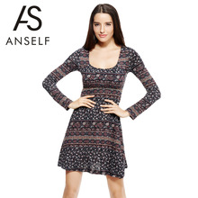 ANSELF New Fashion Women Floral Dress Autumn Printed Round Neck Long Sleeve Tie Waist A-line Slim Casual Party Basic Dress Black(China (Mainland))