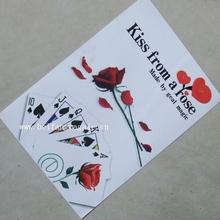 Envío gratis tarjetas románticas mágicos beso de una rosa mágica trucos de magia de póquer
