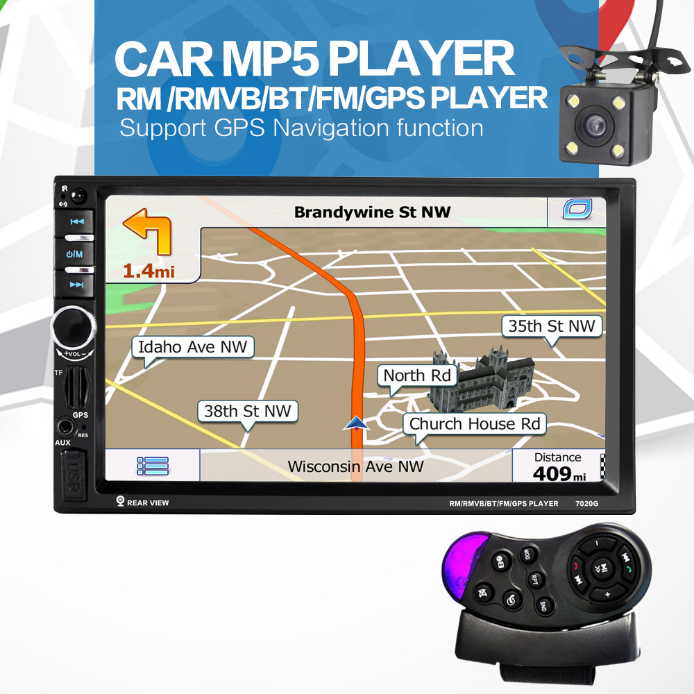 NEW Store!Car Electronic 2 din Car mp4 mp5 Player GPS Navigation 7inch 2din Universal Car Radio In Dash Stereo Video Free Map(China (Mainland))