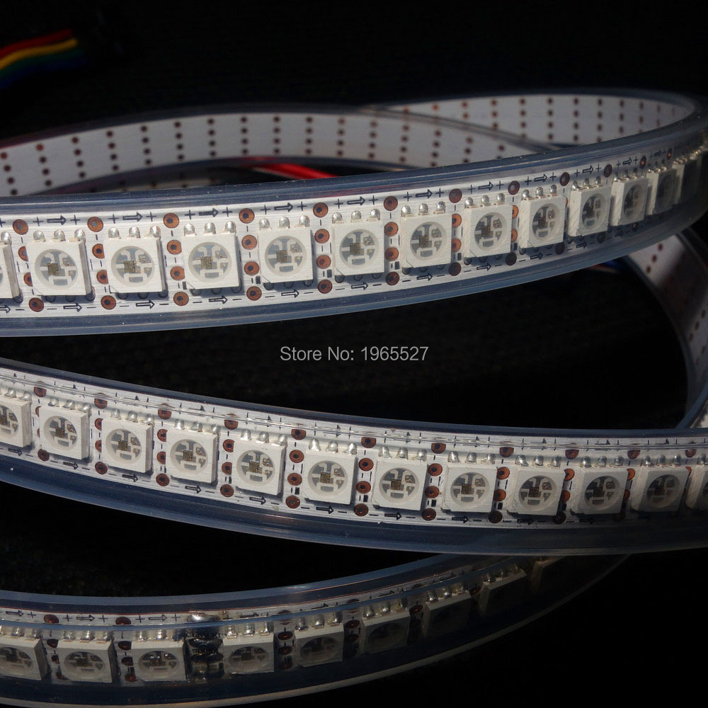 apa102 144 led pixel strip light; 144LEDs/m; 144Pixels/m; 2M/roll; DC5V input, White PCB; Waterproof silicon tube IP67 - Shenzhen Huanuo Mei Technology Co., Ltd. store