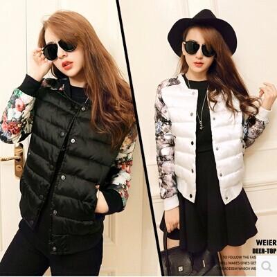 Floral Print Winter Jacket Women Cotton Female Short Korean Baseball Uniform Thick Coat 2015 Slim New Large Size Coat Leopard