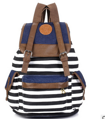 Stripe backpack leisure shopping bag bag canvas bausen is pure and fresh and backpack<br><br>Aliexpress