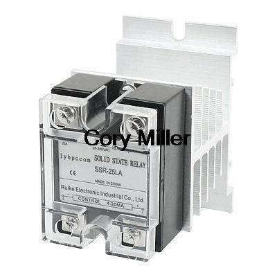 SSR-25LA AC28-280V 25A 4 Screw Terminal One Phase Solid State Relay w Heat Sink<br><br>Aliexpress