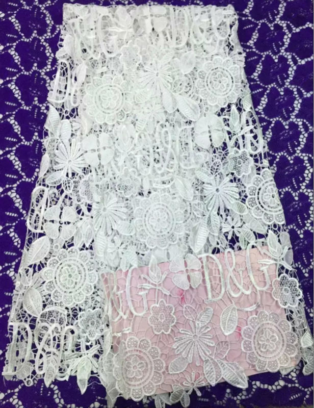Здесь можно купить  Plain White Cord Lace Fabric 5 Yard/Lot African Wedding High Quality Guipure Laces With Lace Embroidered Nigerian Sewing Clothes  Дом и Сад