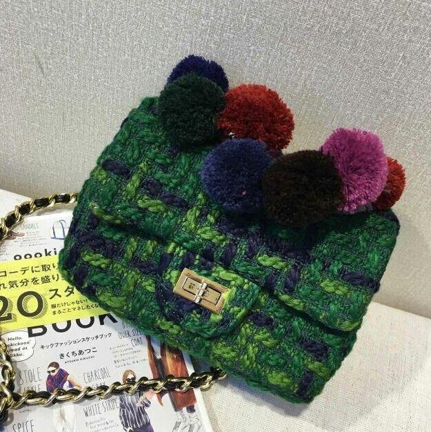 Зеленый плед работы цепи мешок, Твидовые высококлассные небольшая площадь мешок, Женская шерстяные плеча сумку