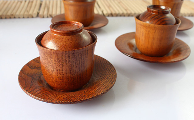 Free Shipping new 2014 3 Pieces Or More Fashion Style Wooden Cup With Cover And Dish Exported To Korea B001