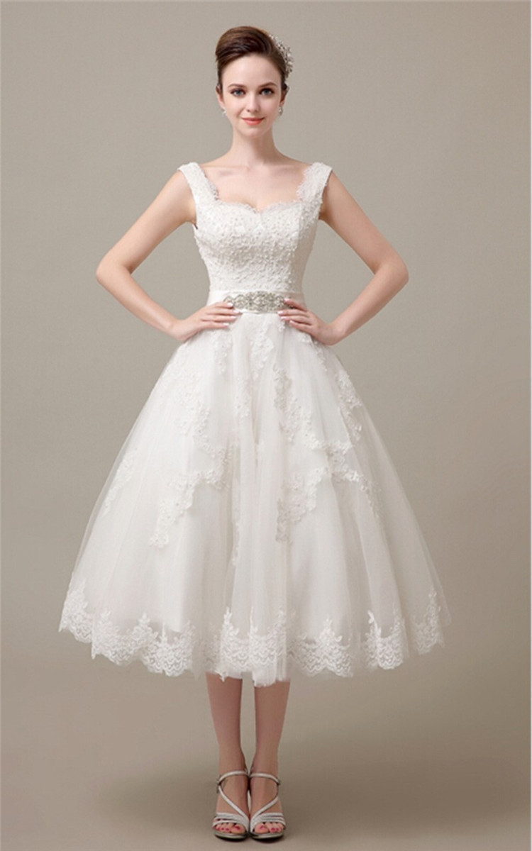 Short wedding dress 2015 mid calf lace up square collar for Lace mid length wedding dresses