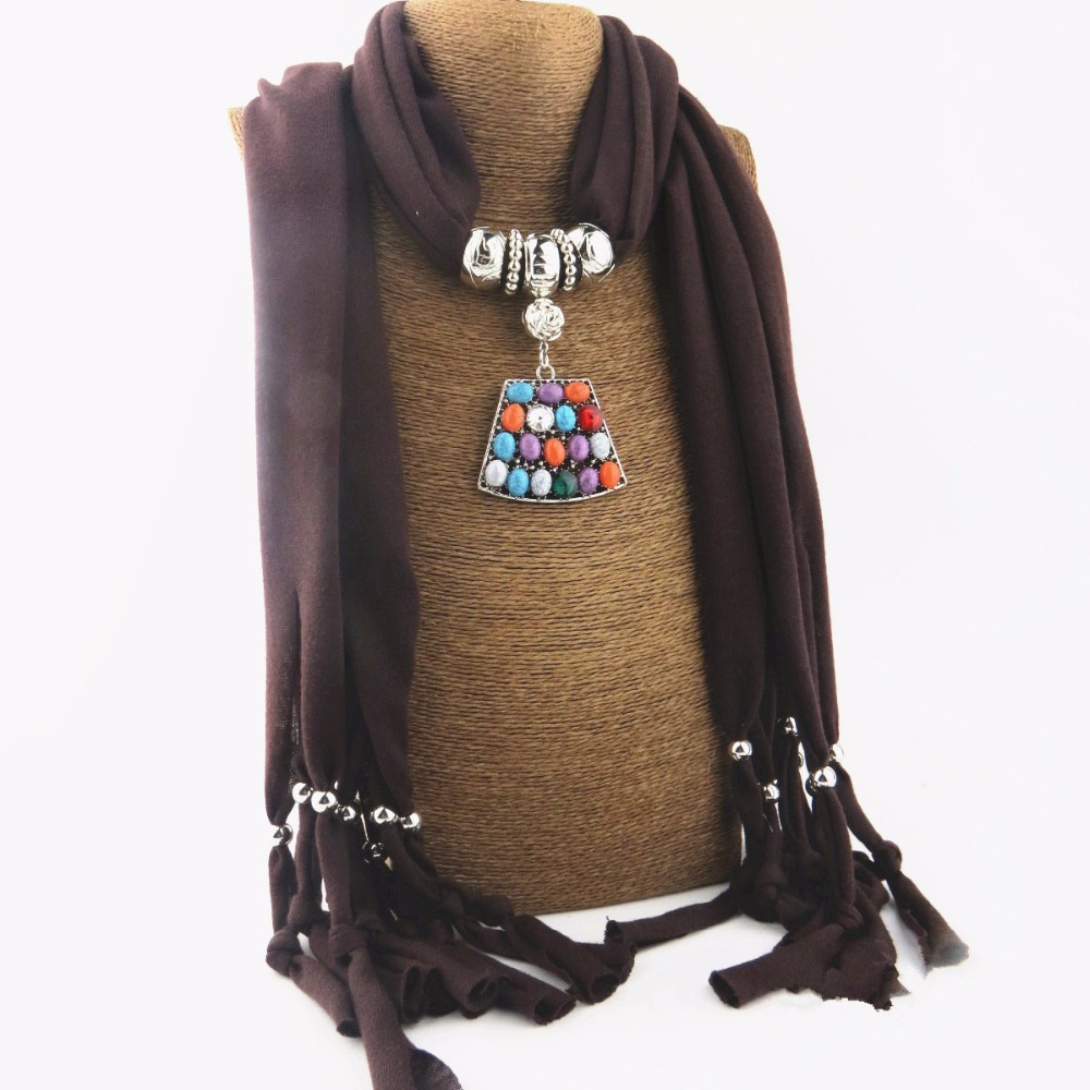 Popular 2016 Polyester multicolors resin Beads Pendant Women Wrap Winter Warm Jewelry Necklace Scarves NK1126