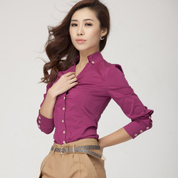 Women's Soild Color Shirt OL Turn-Down Collar Button Slim Shirt Blouse Tops Fashion Formal Work Wear Shirt