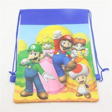 small super mario bros theme birthday party gifts non-woven drawstring goodie bags lovely swim school backpacks 6pcs(China (Mainland))