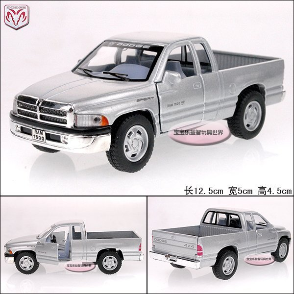 1:44  dodge  ram 1500 truck silver alloy car model free air mail