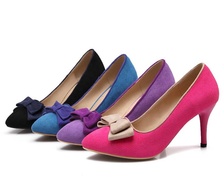 ENMAYER sale Sexy Women Pumps 7.5cm High Heels Party Evening Wedding Shoes Suede Platform Pumps sweet bow shoes pumps