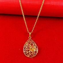2014 Wholesale Fashion 24K Yellow gold necklace Free Shipping Woman Luxurious jewlery long chain necklace pendant