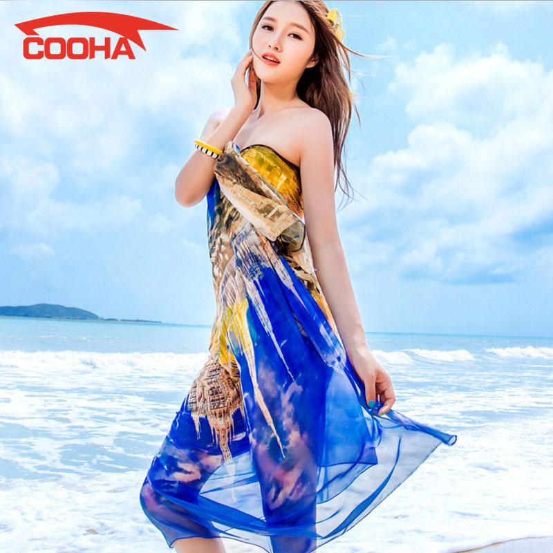 Sexy 2016 Women Chiffon Bikini Cover Ups Swimsuit Floral Ladies Open Wrap Scarf Pareo Beach Dress Swimwear Shawl Bathing Suits(China (Mainland))