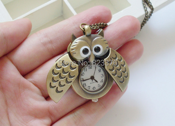 DHL Freeshipping 50pcs Cute Vintage Night Owl Necklace Pendant Quartz Pocket Watch Necklace Fob Watches mix color Silver&bronze(China (Mainland))