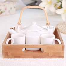 MOYLOR R Ceramic Coffee Cup Set Stainless Steel Filter Business Gifts Exquisite Tea Cups Teapot With Wood Tray 5 Pieces One Set