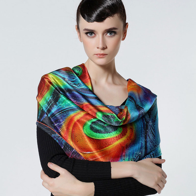 Quality digital silk scarf eco-friendly print silk scarf elegant scarf all-match