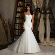 New Arrival Ruched Tulle Mermaid Wedding Dress Lace Up White/Ivory Marry Dresses Bridal Dresses Hot Sale In Stock