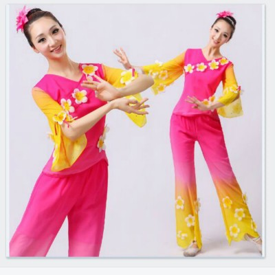 Chinese Folk Dancing Costume 2 PCS Yangko Clothes Ancient Chinese Costume National Classic Dress Dancer Wear(China (Mainland))
