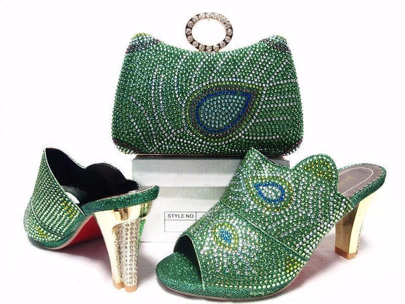 2016 Latest Italian African Women's Party Shoes And Bag Sets With Stones Pumps,Italian Matching Shoes And Clutch Bags In Green