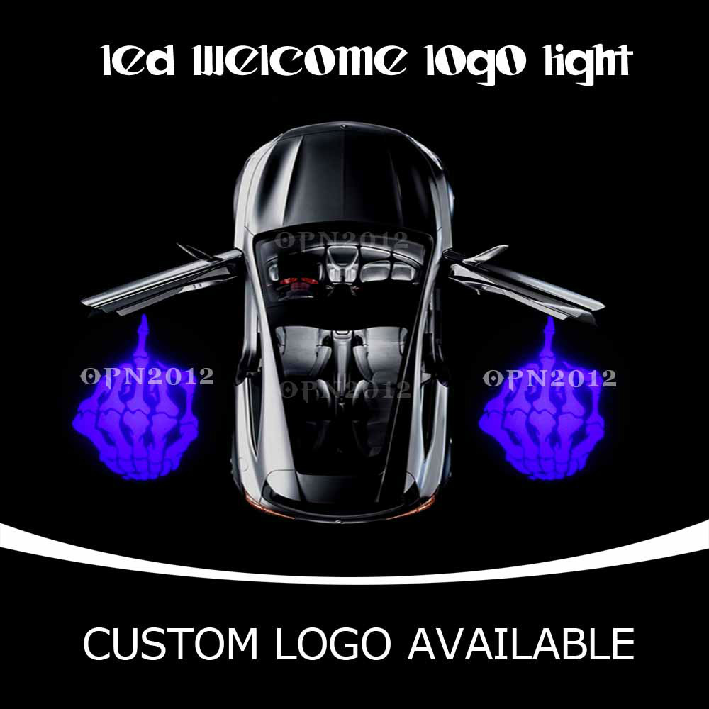 Car Door LED Projector Logo Laser Ghost Shadow LED Welcome Lights Skeleton Middle Finger For CHEVROLET VW DODGE 2233 Blue(China (Mainland))