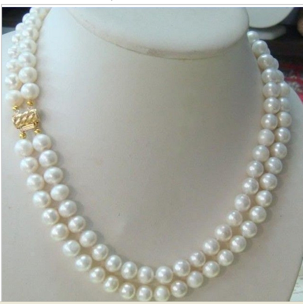 +18-19 inchNATURAL south sea 2Row 9-10mm WHITE ROUND PEARL NECKLACE 14k clasp - gongxifacai9888 store