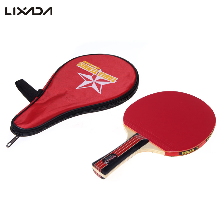 Long Handle Shake-hand Table Tennis Racket Ping Pong Paddle + Waterproof Bag Pouch Red Indoor Table Tennis Accessory(China (Mainland))
